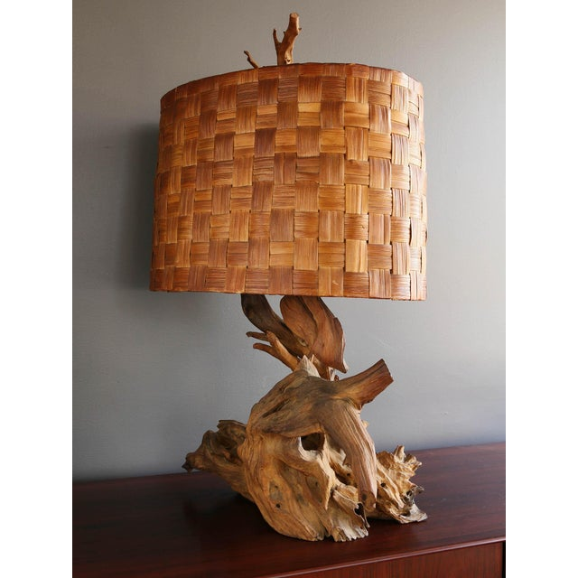 Driftwood Table Lamp with Woven Shade - Image 3 of 7