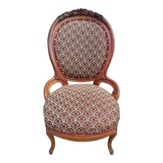 Early 20th Century Antique Victorian Ladies Parlor Chair For Sale