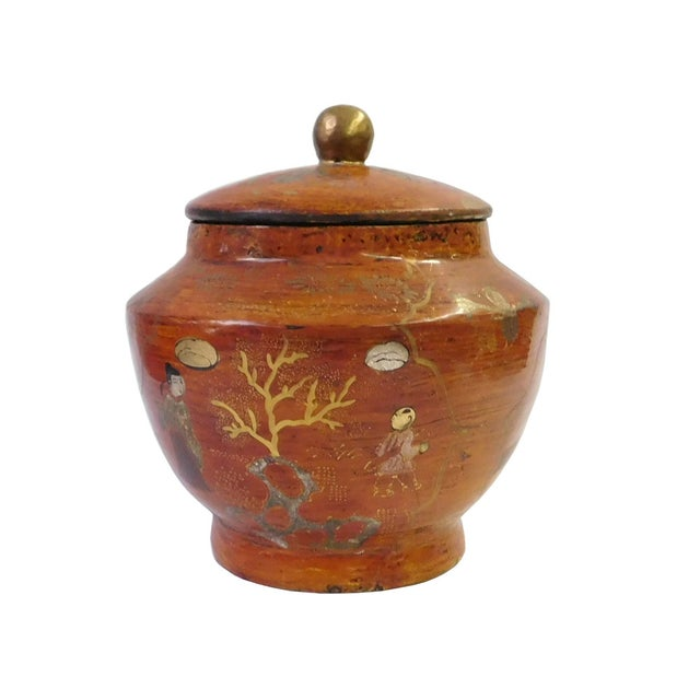 Asian Chinese Brown Lacquer Painted Container For Sale - Image 3 of 6
