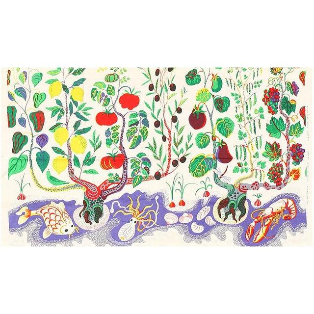 Folk Art Vintage Cotton Italian Dinner Textile Rug by Josef Frank - 2′6″ × 4′1″ For Sale - Image 3 of 3