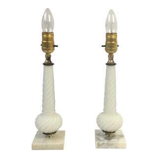 Hollywood Regency White Glass Column Lamps - a Pair For Sale