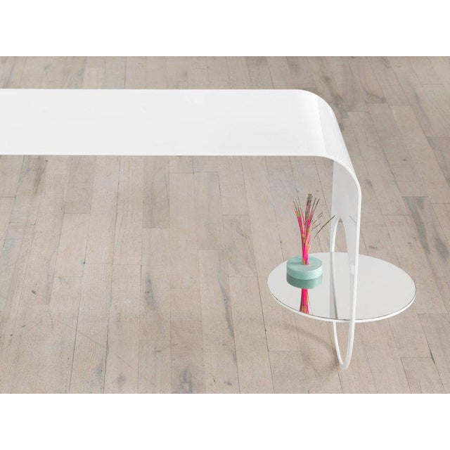 Contemporary Contemporary White Powder Coated Steel and Polished Steel Shelf Thin Table 2 For Sale - Image 3 of 5
