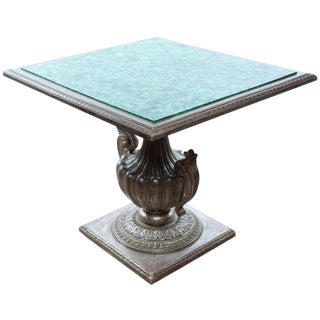 French Malachite Table W/Silver Gilt Carved Base For Sale