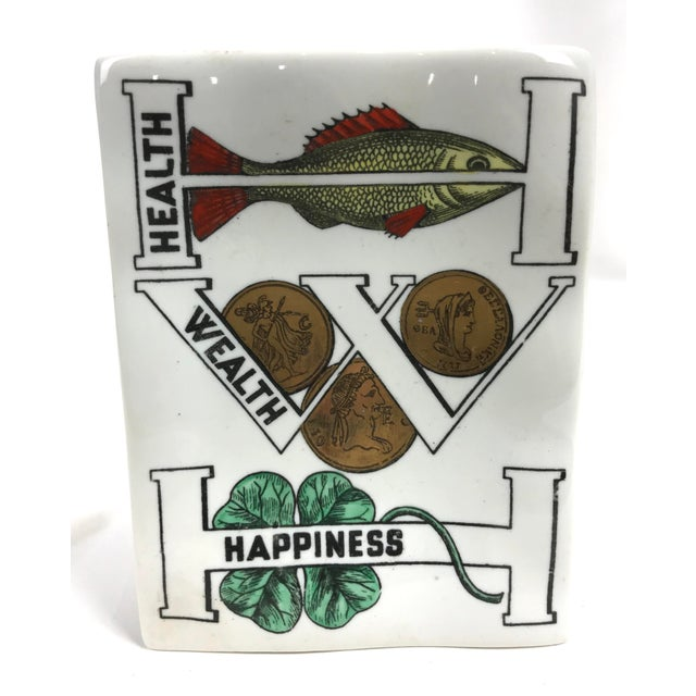 Piero Fornasetti Porcelain Good Luck Tray Dish For Sale In Atlanta - Image 6 of 6