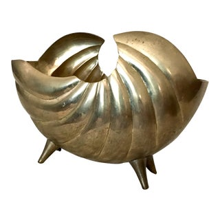 Brass Seashell Footed Planter