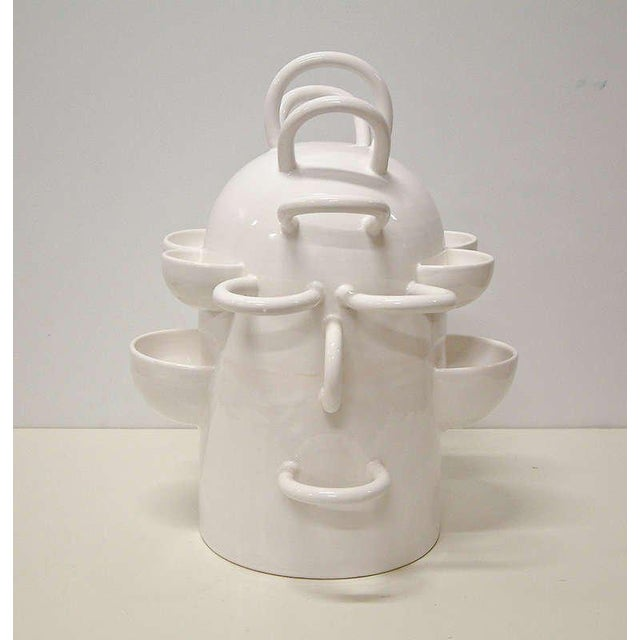 """Abstract 2001 France Florence Doleac for Radi Designers """"Le Robot"""" Ceramic Fruit Bowl For Sale - Image 3 of 5"""