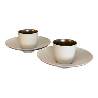 Feeling's by Sophie Coquet Platinum and White Limoges Coffee Cup and Saucer - Set of 2 For Sale