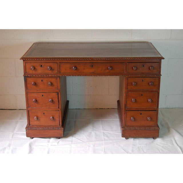 Brown 1900s Georgian Style Mahogany Partners Desk With Leather Top For Sale - Image 8 of 8