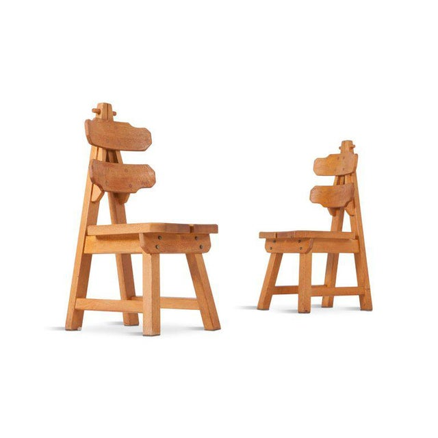 Brutalist Oak Spanish Dining Chairs For Sale - Image 10 of 13