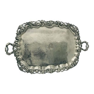 1820s French Georgian Old Sheffield Plate Rectangular Tray For Sale