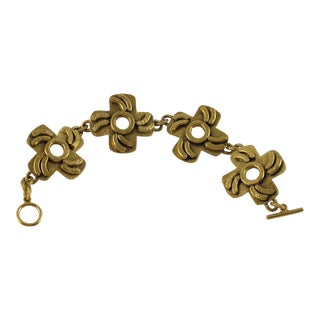 French Henry Perichon Gilt Bronze Mid-Century Link Bracelet For Sale