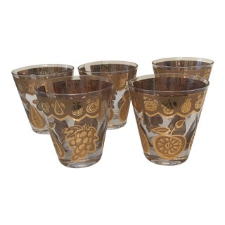 "1960s Culver ""Florentine"" Old Fashioned Glasses - Set of 5 For Sale"