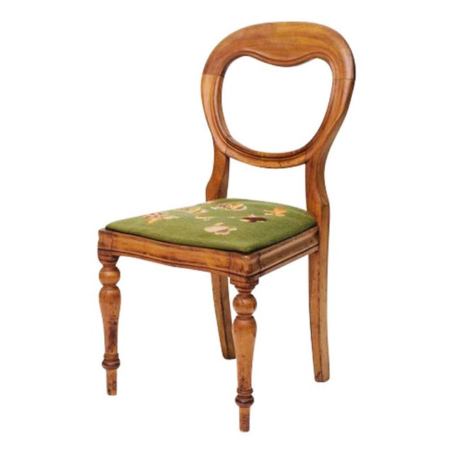 Shield Back Side Chair With Petit Point Seat For Sale