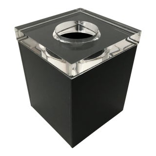 Vintage Thick Lucite Black Acrylic Tissue Box Cover For Sale