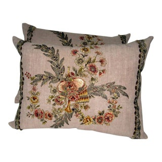 19th C. French Appliqued Linen Pillows - A Pair For Sale