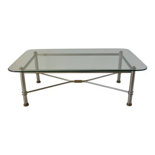 Vintage Stainless Steel Glass Top Coffee Table For Sale