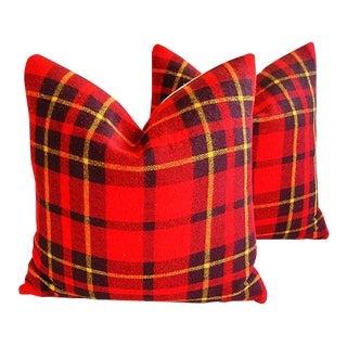 Red Scottish Tartan Plaid Wool & Velvet Feather/Down Pillows - Pair