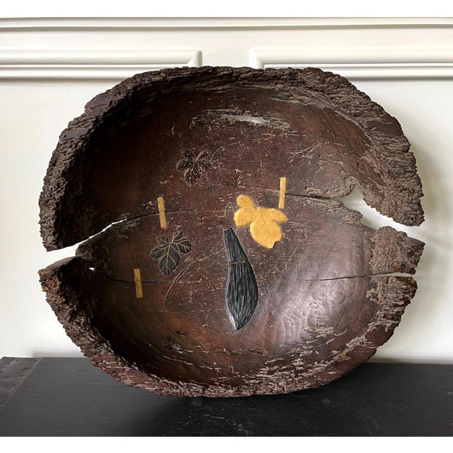 Antique Japanese Lacquered Wood Wabi-Sabi Bowl For Sale - Image 12 of 13