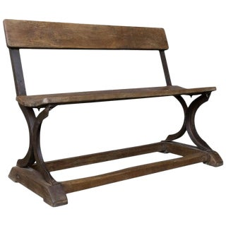 1900s Vintage Iron and Wood Bench For Sale