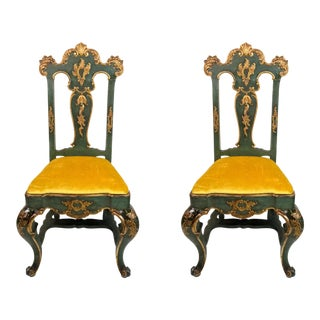 19th C. Venetian Carved & Gilded Chairs - a Pair For Sale