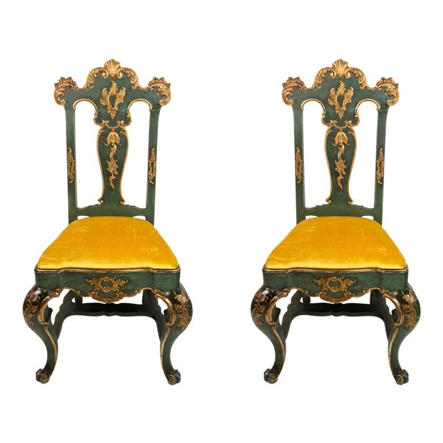 19th C. Venetian Carved & Gilded Chairs - a Pair - Image 1 of 6