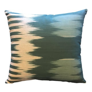 Teal Green Ikat Accent Pillow