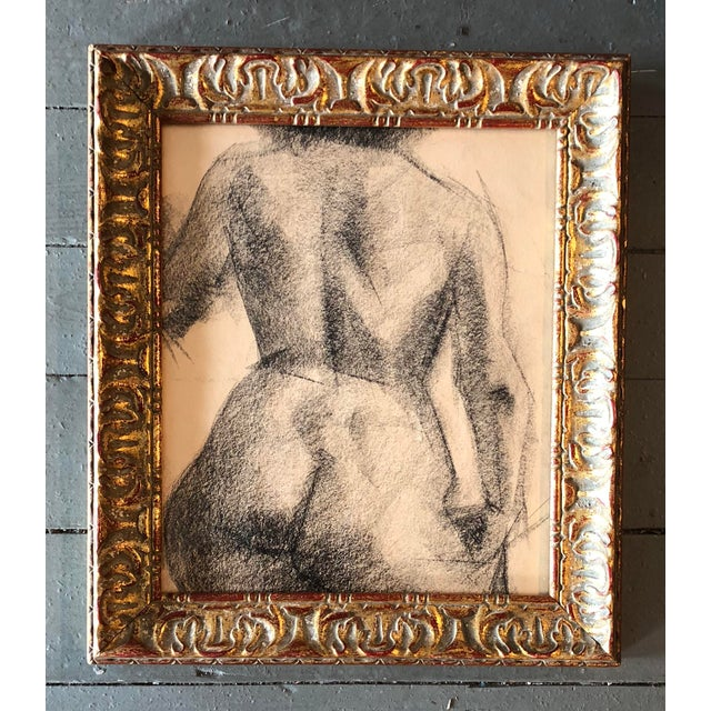 1970s Vintage Original Female Nude Charcoal Study For Sale - Image 5 of 5