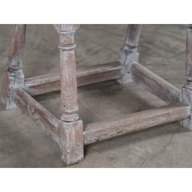 Antique English Limed Oak Joint Stool circa 1890 For Sale In Houston - Image 6 of 11