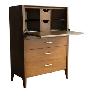 Mid-Century Modern Drexel Profile Walnut Flip Top Secretary Desk For Sale