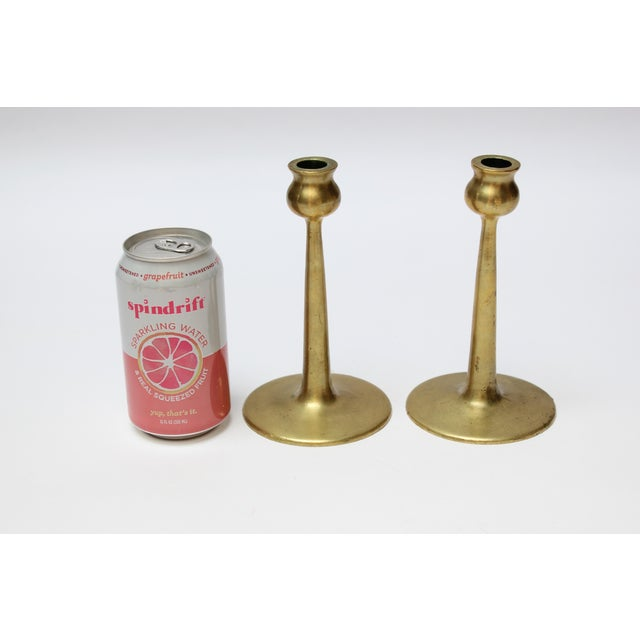 Pair of Petite Mid-Century Modern Turned Brass Candlesticks After Jarvie For Sale - Image 4 of 13