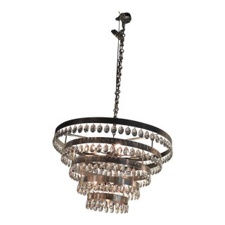 Hollywood Regency Crystal & Wrought Iron Silver Chandelier For Sale