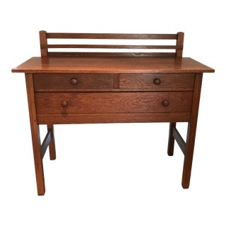 Antique Mission Arts and Crafts Sideboard With 3 Drawers and Plate Rack For Sale
