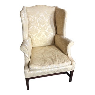 American Federal Style Yellow Jacquard Wingback Chair With Down Cushion For Sale