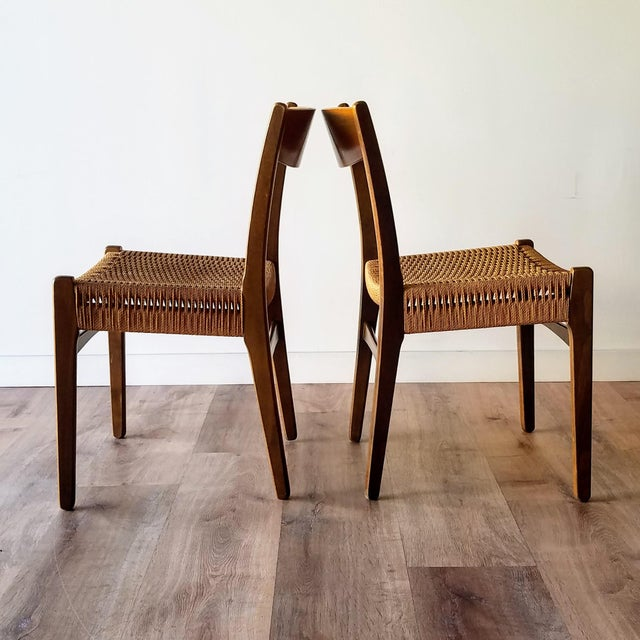 Mid-Century Modern Swedish Mid-Century Modern Rope Dining Chairs - a Pair For Sale - Image 3 of 13