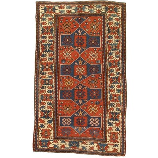 Late 19th Century Antique Russian Kazak Lambswool Rug - 5′1″ × 8′5″ For Sale