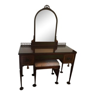 1920s French Hand-Painted Dressing Table With Upholstered Stool - 2 Pieces For Sale