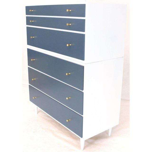 Mid-Century Modern White and Blue High Chest on Chest Two Pieces McCobb Dresser Cabinet Six Drawers For Sale - Image 3 of 12