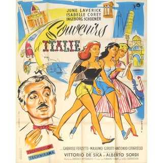 "1950's Original Vintage Italian Movie Poster - ""Souvenir D'Italie"" For Sale"