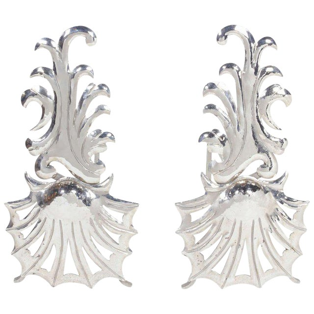 1980's Vintage Hollywood Regency Fireplace Andirons - a Pair For Sale