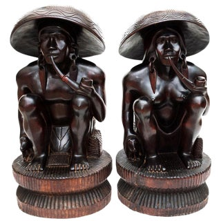 Large Early 20th C. African Narra Wood Statues - a Pair For Sale