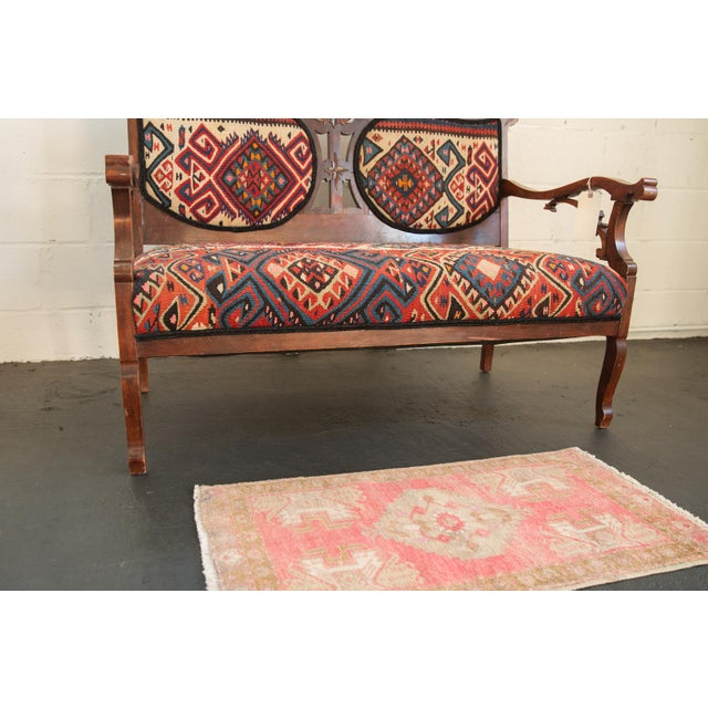 """Old New House Vintage Distressed Oushak Rug Mat - 1'7"""" X 2'11"""" For Sale - Image 4 of 7"""