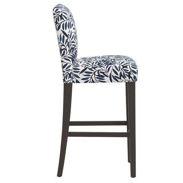 Transitional Bar stool in Voysey Vine Blue For Sale - Image 3 of 8