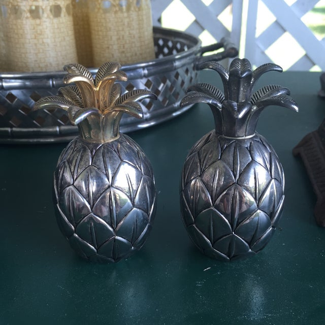 Vintage Silver Pineapple Bowl With Matching Pineapple Salt & Pepper Shaker Set - Image 8 of 10