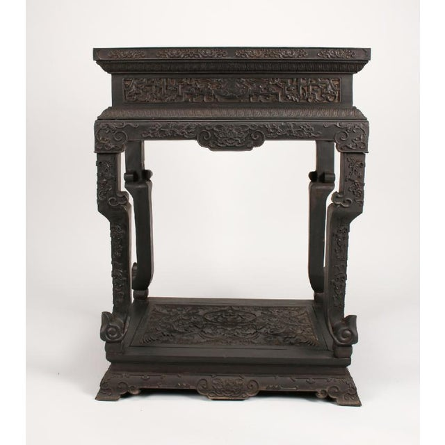 Gorgeous intricately carved Antique Chinese Zitan Plant Stand/ wood side table. Rarest of wood and beautiful texture....