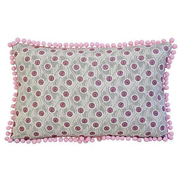 "18"" X 12"" Custom Tailored Pink Medallion Feather/Down Pillow W/ Pom-Pom Trim For Sale - Image 4 of 6"