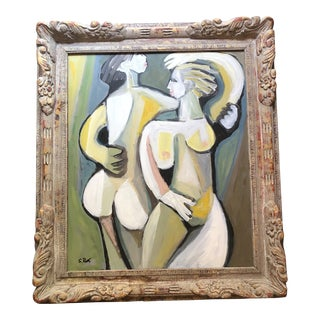Original Contemporary Stewart Ross Abstract Modernist 2Female Nudes Painting Ornate Frame For Sale