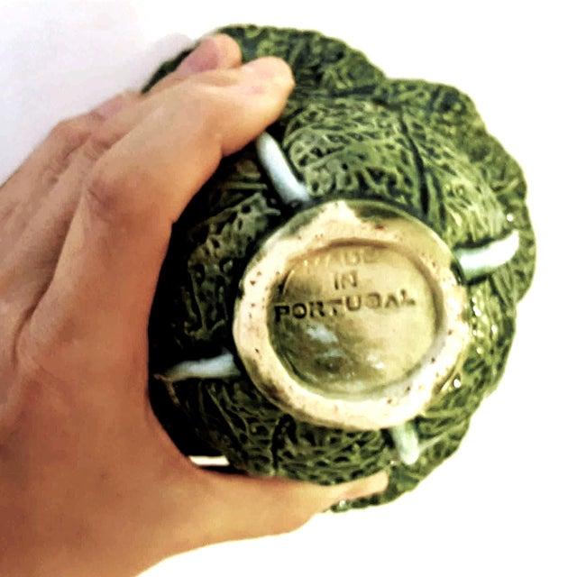Green 1930s Vintage Portuguese Majolica Cabbage Shaped Leaf Soup Bowls - Set of 4 For Sale - Image 8 of 10