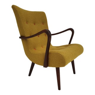 Vintage 1950s Danish Reupholstered Armchair For Sale