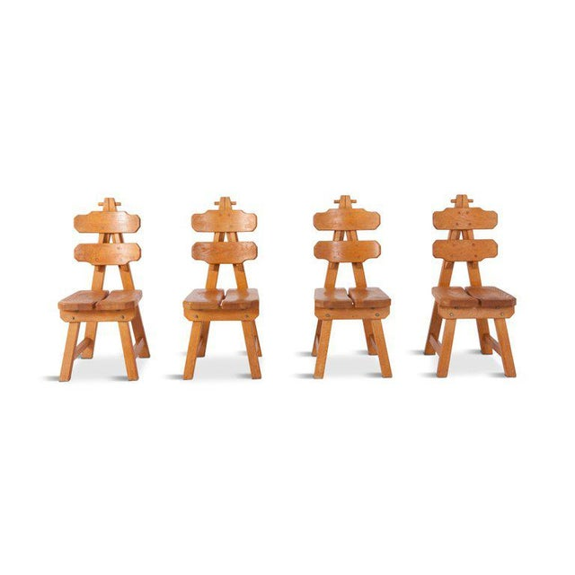 Brown Brutalist Oak Spanish Dining Chairs For Sale - Image 8 of 13