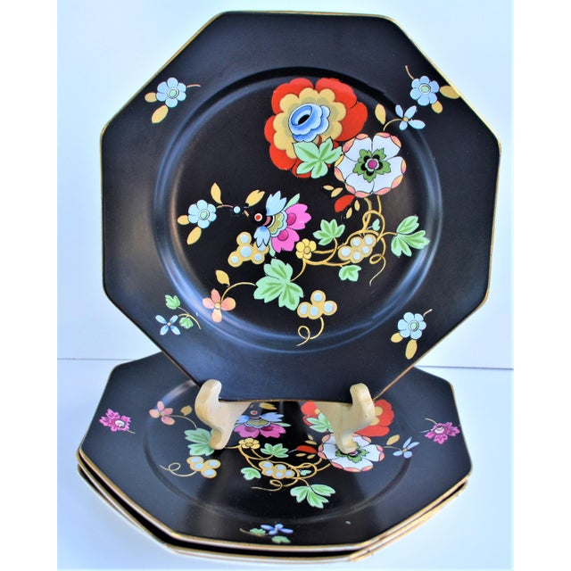 1920s Antique Art Deco Black and Floral Plates - Set of 4 For Sale - Image 9 of 12